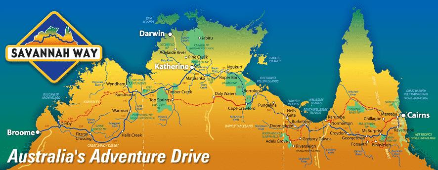 Carte de la Savannah Way entre Cairns et Broome en passant par Darwin