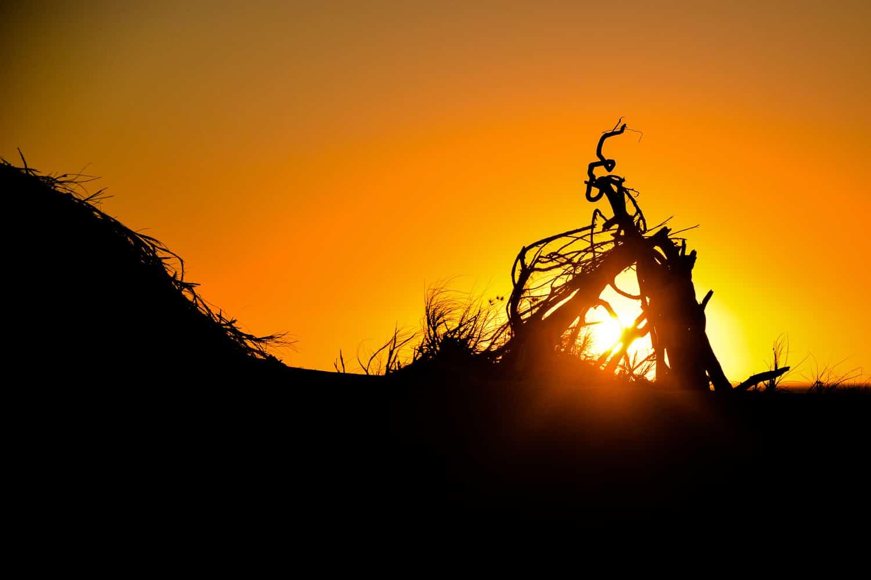 coucher de soleil sur la plage à exmouth sur la côte ouest de l'Australie