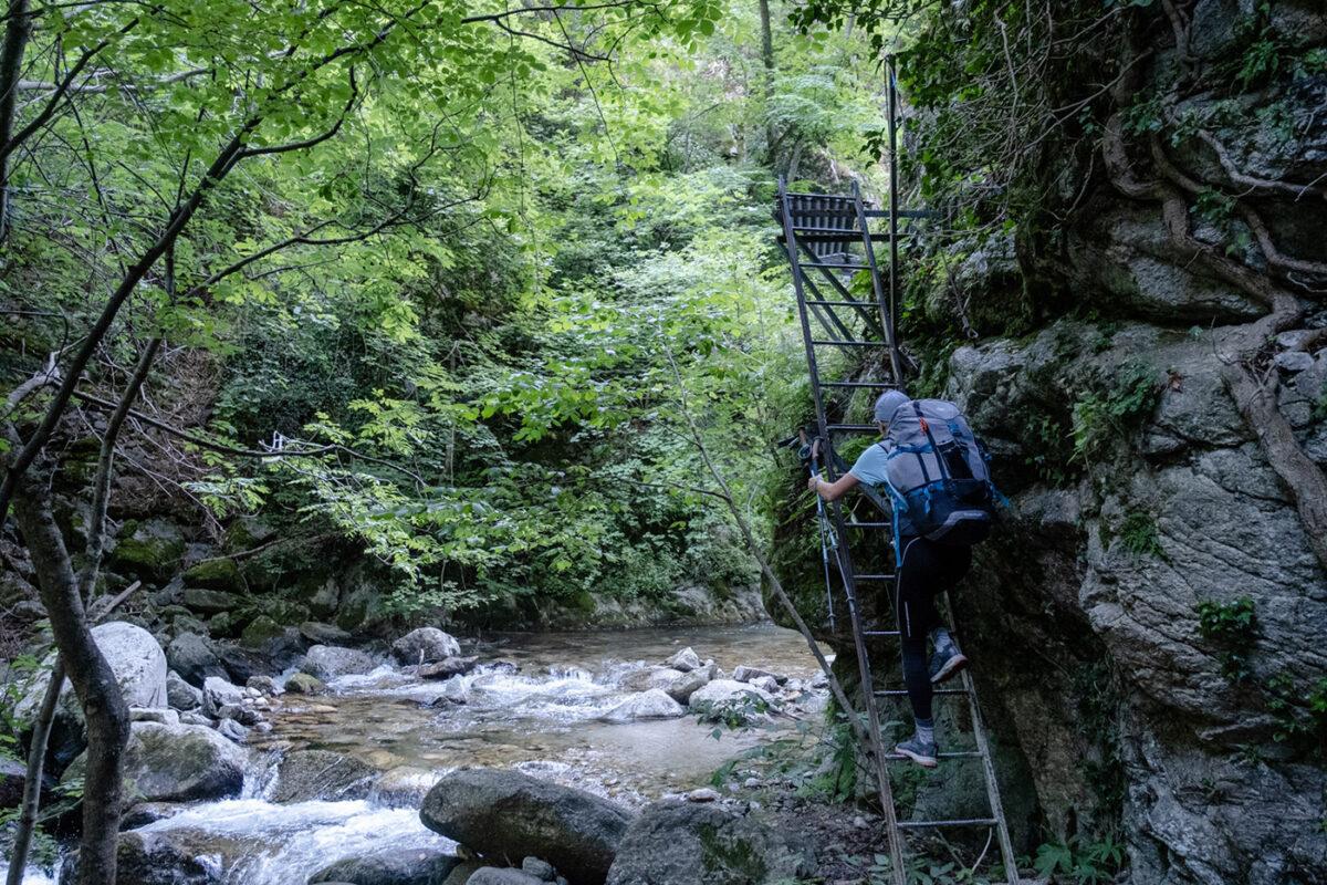 Montée d'échelle dans les gorges de la Carança