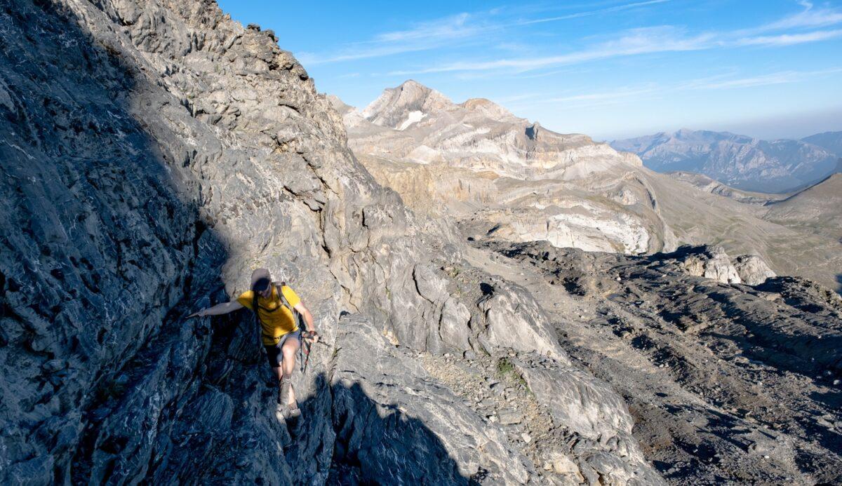 Passage d'escalade sur le retour de la randonnée du Mont perdu