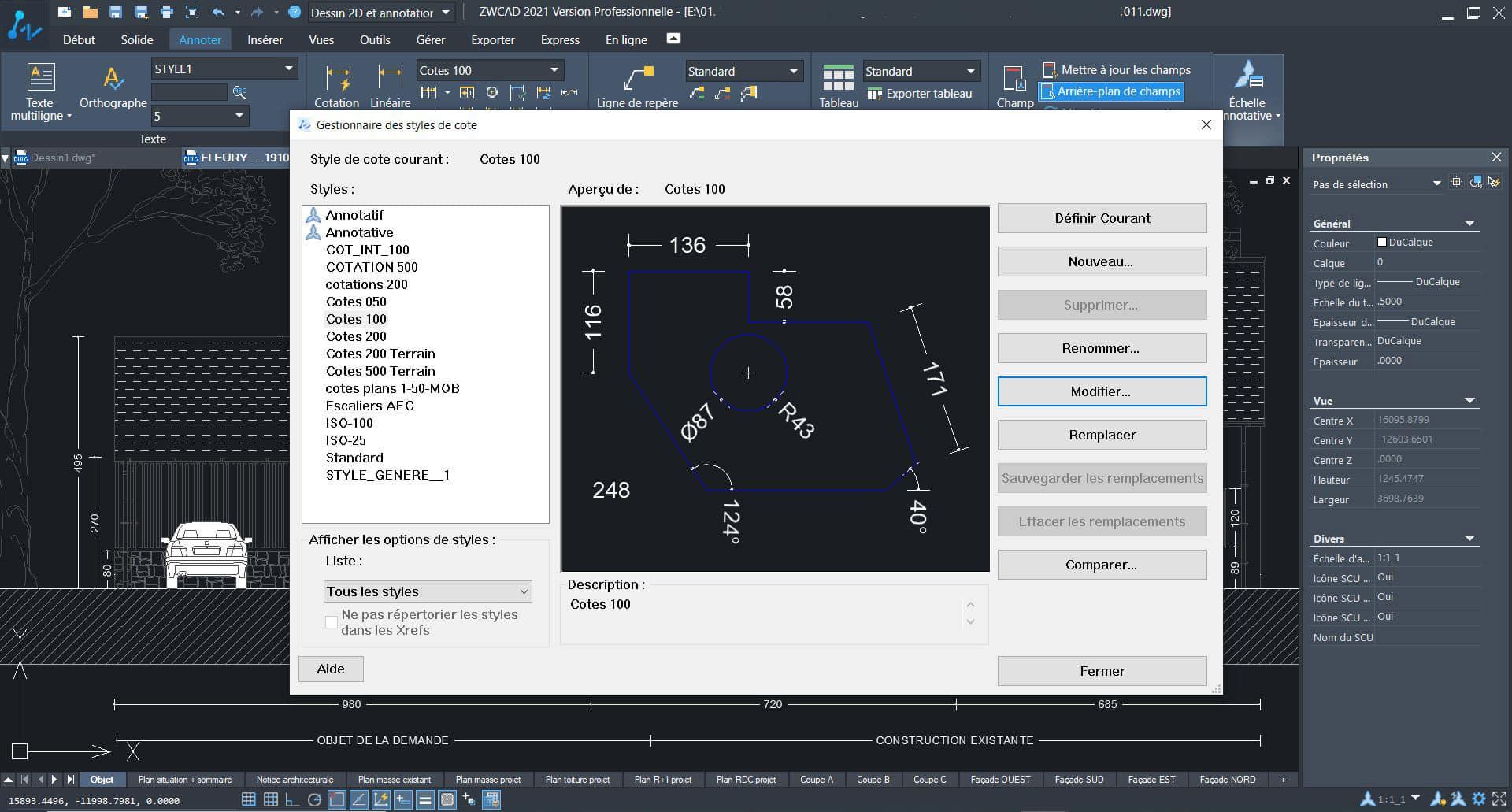 Aperçu de ZWCAD, logiciel de DWG