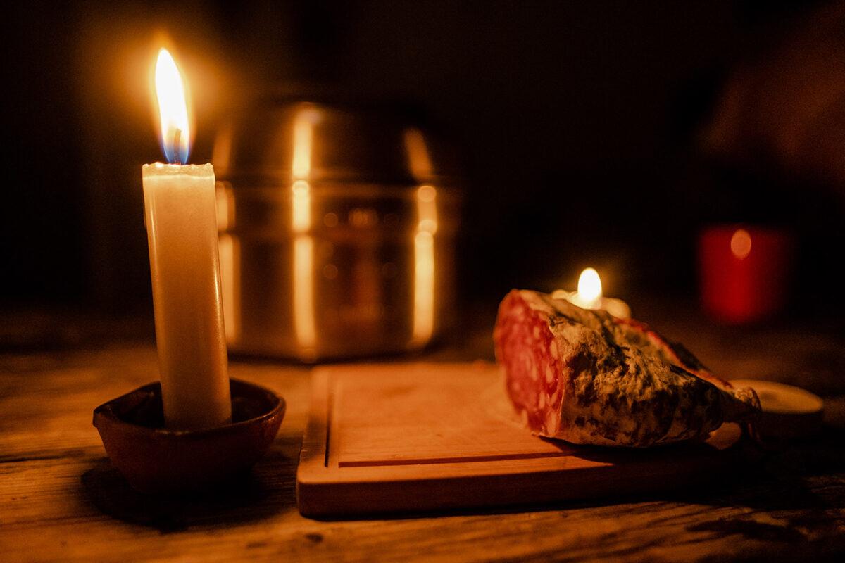 bougies dans le refuge des oulettes de gaube