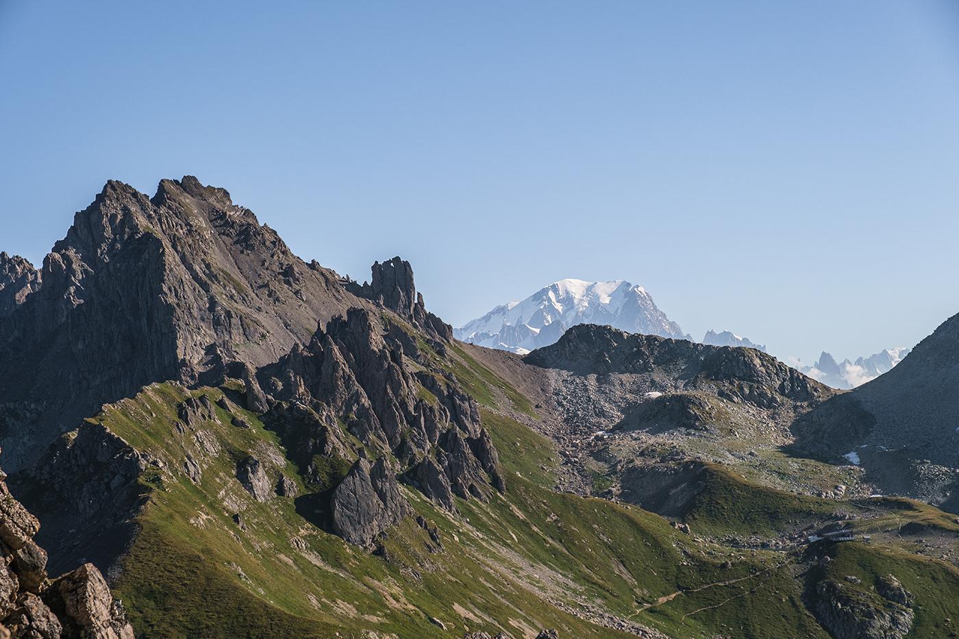 Vue sur le Mont Blanc depuis Pierra Menta