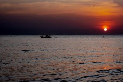Coucher de soleil sur l'île de Phu Quoc au Vietnam